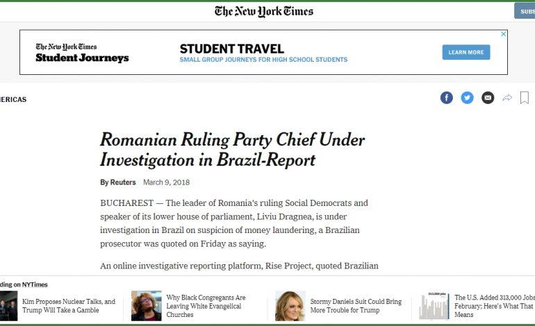 New York Times: Liderul partidului de guvernământ din România, anchetat în Brazilia
