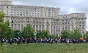 """UPDATE Peste 1000 de persoane au participat la un marş de la Parcul Izvor la Piaţa Victoriei. Oamenii au scandat """"Demisia"""", Analfabeta"""" şi """"Nu vrem să fim conduşi de hoţi"""""""