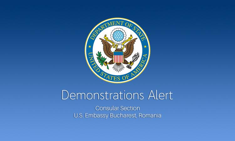 Alertă transmisă de Ambasada SUA privind mitingurile anunţate în Capitală