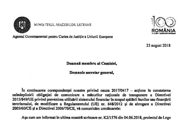 Exclusiv Hotnews: Guvernul se roagă de Comisia Europeană pentru o păsuire la directiva de combatere a spălării banilor