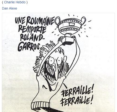 Caricatură cu tentă șovină la adresa românilor, în presa franceză: O româncă a câştigat la Roland Garros – Fier vechi, fier vechi